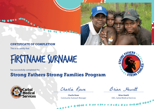 Strong Fathers, Strong Families Certificate of Completion